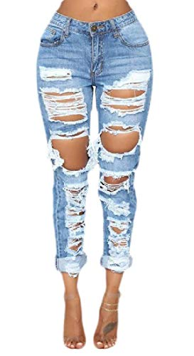 H&E Damen Denim-Hose Destroyed Ripped Cuffed Long Jeans Gr. L, blau -