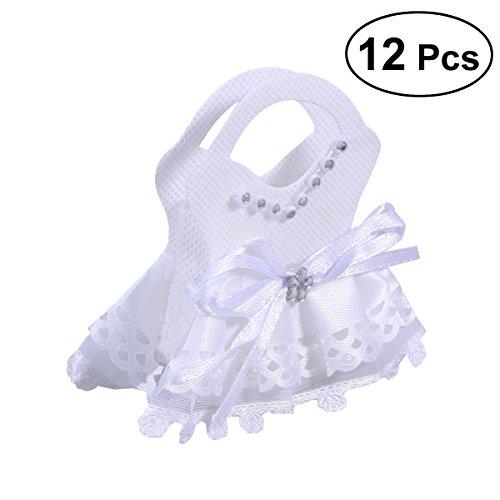 BESTOYARD 12pcs Hochzeitsgeschenk-Taschen personifizierte Luxusfestlichkeits-Süßigkeit-Plätzchen-Partei-Bevorzugungs-Taschen für die Hochzeitsfest (Weiß) (Partei Die Für Süßigkeiten)
