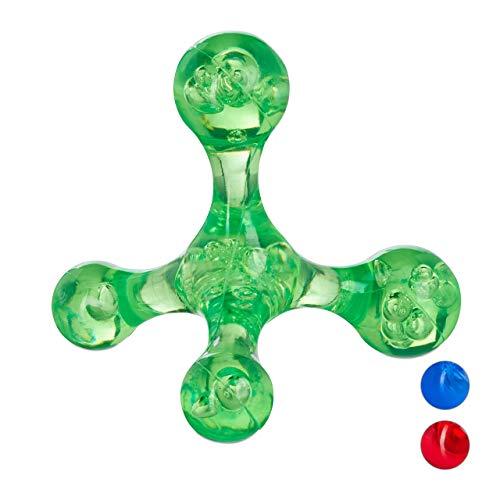 Fußreflexzonenmassage Manuelle (Relaxdays Manuelles 4-Punkt-Massagegerät, Knubbel zur Entspannung, Massagekreuz f. Triggerpunkte, Pyramide, grün)