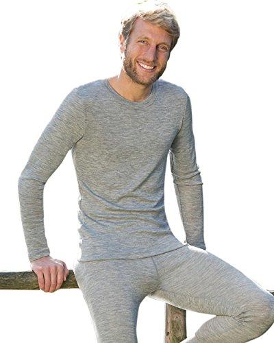 Engel Natur, Herren Shirt langarm, Wolle & Seide Hellgrau Melange