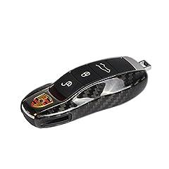 Idea Regalo - T-Carbon, custodie laterali in vera fibra di carbonio di protezione per telecomando e portachiavi di Porsche 991,981,Cayenne, Panamera (nero lucido)