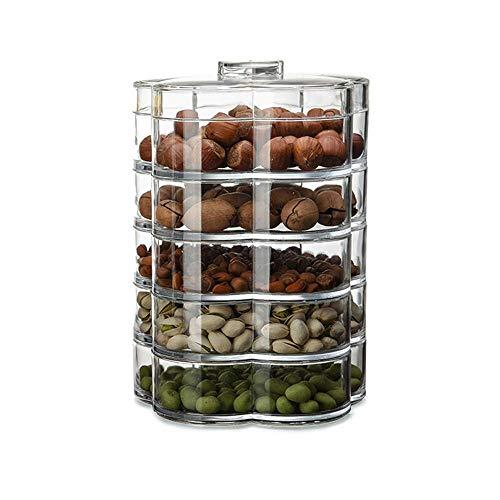 GJJSZ Tray Holder Transparent Snack Tray Wohnzimmer Pralinenschachtel mit Deckel zur Aufbewahrung von Trockenfrüchten Nussbonbons 27.5 * 22CM