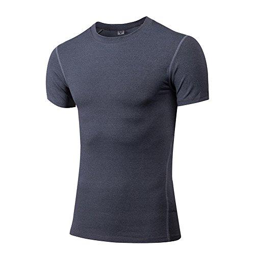 Amorar Herren Slim Cool Schnell trocknend Atmungsaktiv Tight Sport Tops fürTraining Fitness Laufen, Athletisch Kompression Elastizität Kurzarm T-Shirt Hemden Bluse