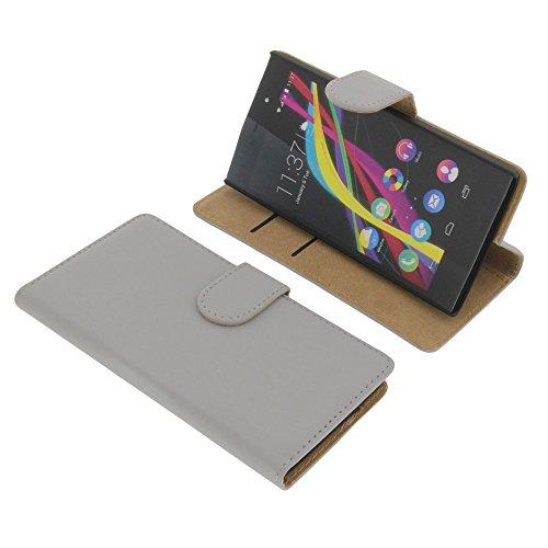 foto-kontor Tasche für Wiko Highway Star Book Style Grau Kreditkarte Schutz Hülle Buch