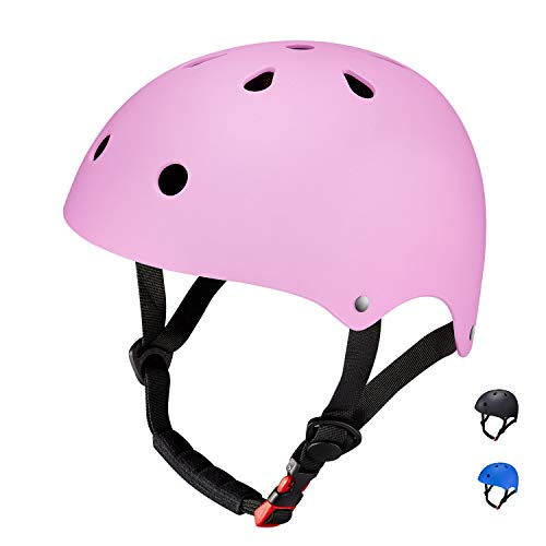 Topfire casco sportivo, opaco, colorato, da uomo/donna, casco da bici/bmx/skate/ciclismo (m/rosa)
