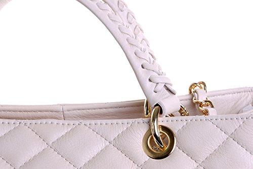 Borsa di cuoio italiano Design classico diamante forma borsa tracolla imbottita, con catena in metallo e cuoio, maniglie / tracolla include una custodia protettiva marca Grande crema