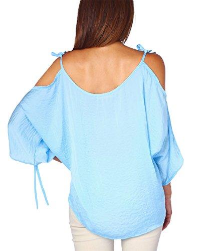 KRISP® Damen Seidiges Top mit Gebundenen Ärmel Blau (5151)