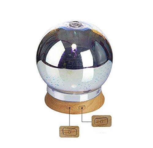 TBY El Humidificador Ultrasónico del Vidrio De Chispa 3D, Humectador del Patrón De Madera, Aromatherapy, Mini Luces Coloridas De La Noche, Rociadores Coloridos, Niebla Fina del Micrón,Circular