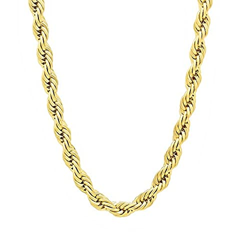 5mm 14k Gold Plated Rope Chain Necklace, 76 cm + Microfiber Jewelry Polishing Cloth