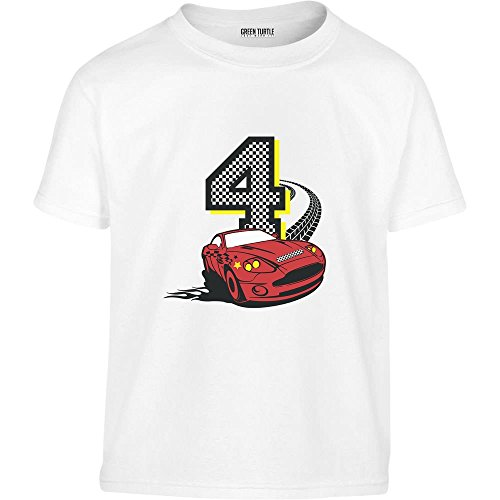 Geschenk zum 4. Geburtstag Jungs Auto Kleinkind Kinder T-Shirt - Gr. 86-128 110 (4-5J) Weiß (Geburtstag-kleinkind-t-shirt 5.)