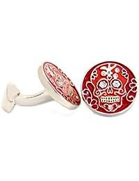 Totenkopf Manschettenknöpfe rot silbern mit kleinen hellen Kristallsteinen + Silberbox