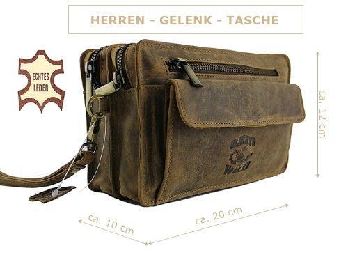 Handgelenktasche Leder Tasche Herrentasche Ledertasche Ausweistasche Herrenhandtasche Farbwahl (Tan) Tan