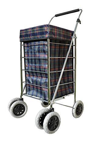 Alexander Graham - Carrello per la spesa con manico regolabile, d'alta qualità, con 6 ruote, grande ma facile da usare e ideale per una maggiore libertà di movimentoi. Quadretti