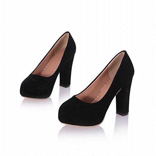 Mee Shoes Damen innen Plateau runder toe Nubukleder high heels Pumps Schwarz