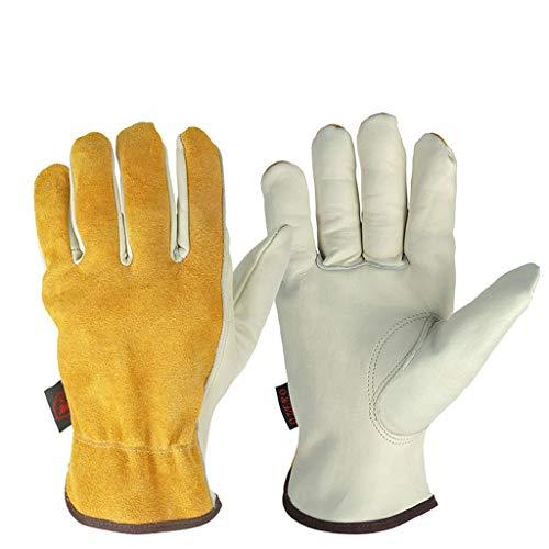 Guanti da Lavoro in Pelle, Guanti da Moto Vintage, Adatti per Il Motociclismo all'aperto, Abbigliamento in Pelle DSJSP (Color : White, Size : M)