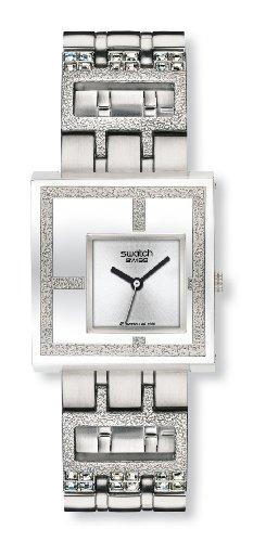 Swatch Irony Square Mirror Time Yus 100G - Reloj de mujer de cuarzo, correa de acero inoxidable color plata