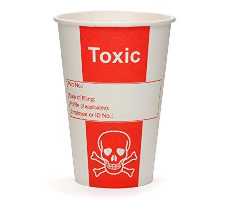 100x Pappbecher, Giftbecher Toxic, Papierbecher, Becher für Labore oder Party mit 200ml Füllvolumen und Gift Optik