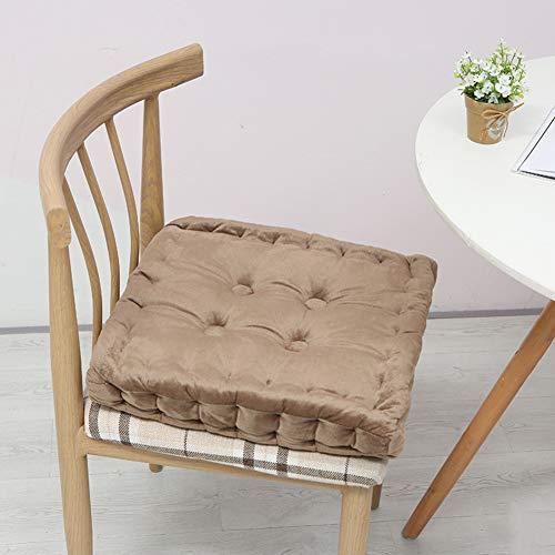 Tatami Stuhl-pad, Super weicher Reiner Farbe verdicken eckig plüsch Anti-rutsch Kissen bodenkissen Stuhl-Matte Sitzkissen Innen-und außenbereich-Khaki 38x38cm(15x15inch)