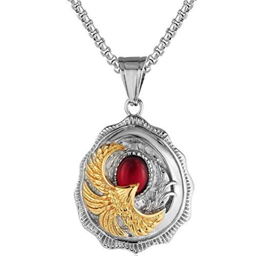 YEBENI Männer Weinlese gotische Edelstahl Goldton Adler wtaer Tropfen hängende Halsketten mit Round Box Halskette