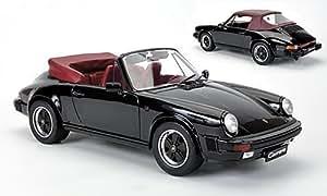 Porsche 911 Carrera 3.2 cabriolet, noire/rouge foncé, voiture miniature, Miniature déjà montée, Premium ClassiXXs 1:12