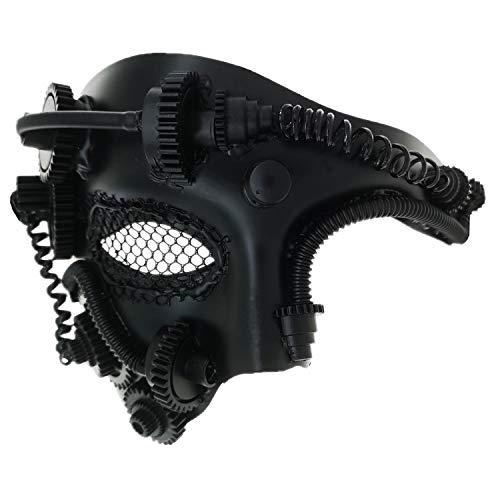 Pest Venezianische Doktor Kostüm - Ubauta Steam Punk Phantom der Oper Vintage mechanische Männer venezianische Maske für Maskerade / Party / Ball Prom / Halloween / Karneval (Black Punk Mesh Eye)
