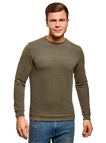 oodji Ultra Herren Lässiges Sweatshirt mit Ziereinsatz Grün (6800N)