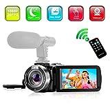 """Videocamera Digitale Videocamere Full HD 1080P 30FPS Camcorder con Microfono Visione Notturna a Infrarossi IR Videocamera con Telecomando 3""""LCD Touch Screen"""
