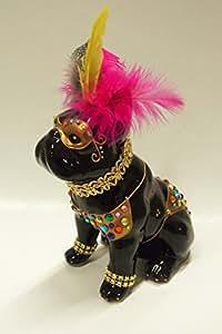"""Statuette de chien Bouledogue Français en céramique, modèle """"Brazil"""", pièce unique peinte à la main, Laure Terrier, H17cm"""