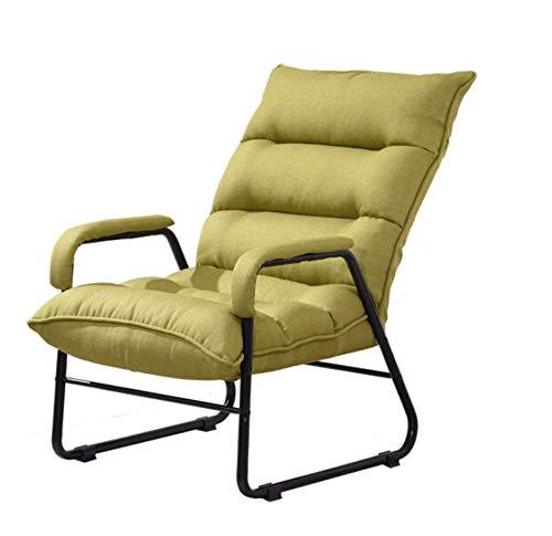 WJS Faule Couch Faltbarer Recliner Lässig Komfort Nachahmung Baumwolle Leinen Tatami Wohnzimmer Unternehmen Schlafzimmer Mittagspause Stoff Weichen Salon Stuhl 53 × 54 cm (Color : Green, Size : A)