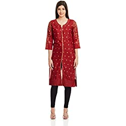 Rangriti Women's Straight Kurta (RMMAABHUSHAN2603A_Maroon_32)