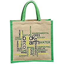 Back To Earth HomeStop Printed Juco Bag (Green, Free Size)