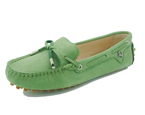 Minitoo tyb960 – 10 da donna in pelle nubuck Slip-on scarpe casual barca Ballet Flats Loafer Moccasins Algae Green