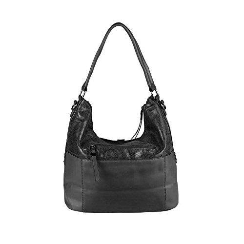 OBC DAMEN TASCHE SHOPPER METALLIC Henkeltasche Handtasche Schultertasche Umhängetasche Hobo-Bag Rose Schwarz 38x30x15 cm