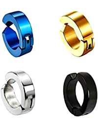 Chandrika Pearls Gems & Jewellers Combo of Huggie Hinged Non-Piercing Clip on Earrings for Men(Black, Royal Blue, Gold and Sliver)