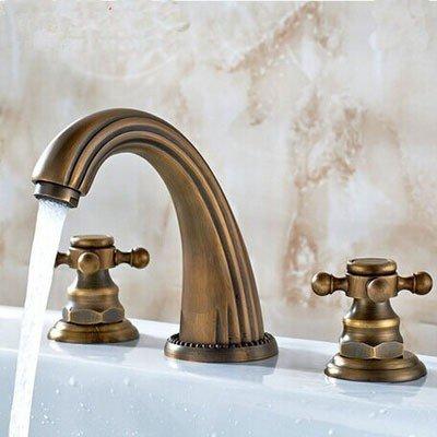 WKZDS.KK Waschtischmischer Antik Bronze Fertig Weit Verbreitete 8-Zoll Badezimmer Waschbecken Wasserhahn Armatur Wasserhahn Tippen (8 Zoll Weit Verbreitete Wasserhahn)
