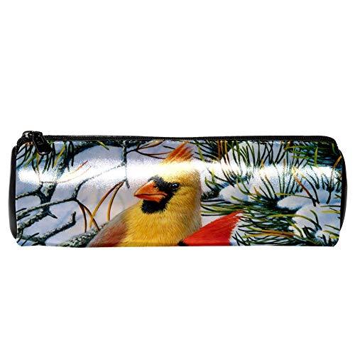 EZIOLY Winter-Kardinals-Leder-Stiftmäppchen für Münzen, Kosmetik, Make-up-Tasche für Schule, Arbeit, Büro -