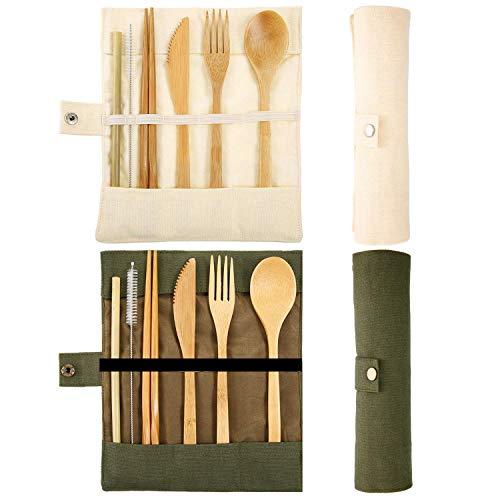 Longsing Bambus Besteck,Reisebesteck 2 Packungen Mehrwegmesser Gabel Löffel Stäbchen Strohhalme Pinsel (Beige und Grün)