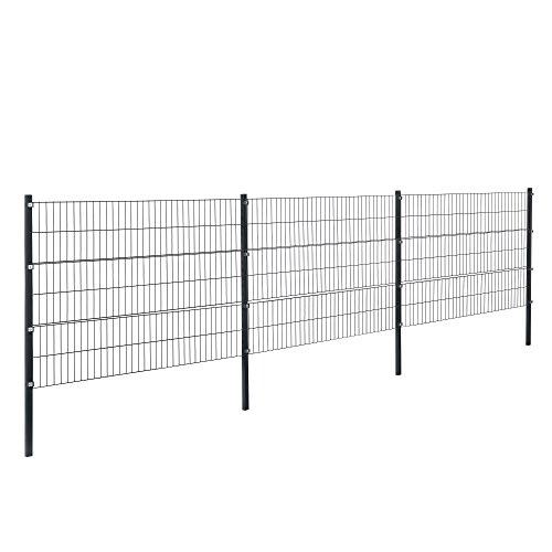 *[pro.tec]® Doppelstabmattenzaun – 6 x 1,2 m – Eisen Gartenzaun Metallzaun Set (grau)*