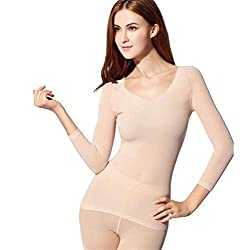 ASOSMOS Frauen Winter Seamless Thermounterwäsche Thermal Inner Wear Set Warme Tops + Hosen 2Pcs Anzug (Hautfarbe)