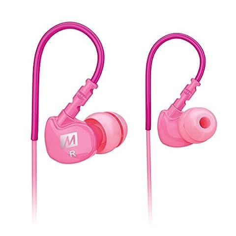 MEE audio Sport-Fi M6 Écouteurs intra-auriculaires à isolation acoustique et fils mémoire Rose