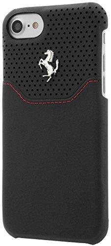 Ferrari FEHOHCP7BKR Hart Schutzhülle für Apple iPhone 7, Echtleder schwarz/silber schwarz/silber