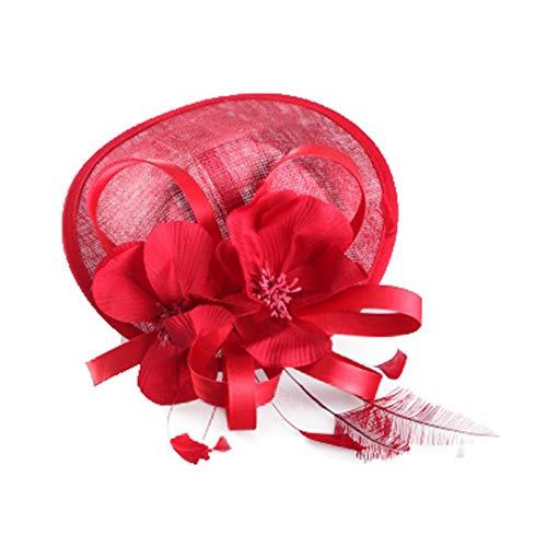 OLADO Elegante Party Cocktail Hüte für Frauen Fascinator Derby Blumen Pillbox Hut Leinen Fedora