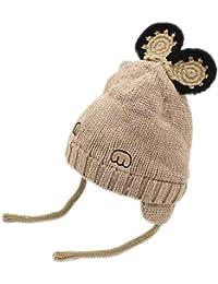 07222b22f65cc REIA Orejeras de Lana de Invierno para niños Gorro de Lana Gruesa de Punto  Sombrero cálido Alta…