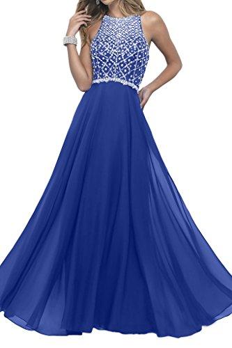 Prom Style Damen Prinzessin Traeger Abendkleider Ballkleider Cocktailkleider A-Linie Lang Chiffon Partykleider Schleppe Royalblau