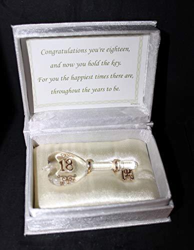 Kristall Glas 18. Geburtstag Schlüssel ist in 24kt Gold vergoldet und wird in einem Ivory Elfenbein Weiß Material Satin gefüttert Geschenkbox. Personalisiertes Geschenk. - Satin-kristall-glas