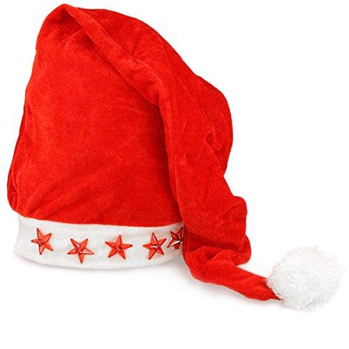 Preisvergleich Produktbild Weihnachtsmütze Nikolaus-Mütze mit Bommel und Sternen mit 5 LED Lampen für Weihnachten