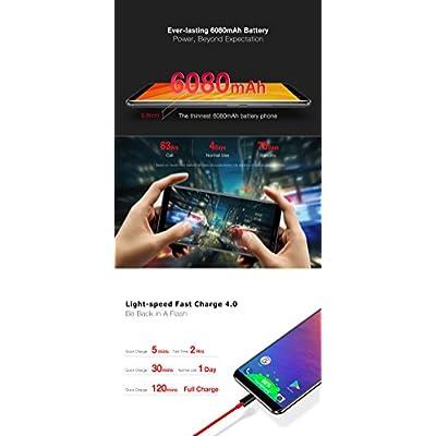 Ulefone Power 3 - 6.0 inch FHD (18:9 ratio) Corning Gorilla Glass 4 Screen Android Smartphone, Octa Core 2.0GHz 6GB + 64GB, Hi-Fi Face Recognition Quad Cameras 6080mAh Battery - Black