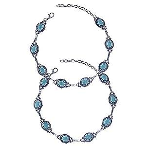 cholinchin 2 Stück Boho Style Damen Fußketten Charm Verstellbar Silber mit Türkis Fuß Kette Silber Knöchelkette, Blau FußSchmuck für Frauen Mädchen,Geschenkbox Nickelfrei(23-28cm)