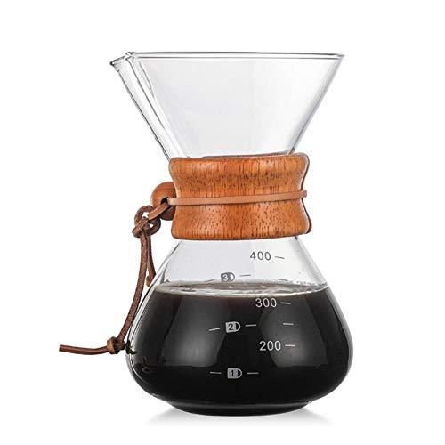 Kaffeemaschine Ersatz Becher Glas (waterfaill 400 ml Kaffeekanne aus Glas Pour Over Kaffeekanne Ersatz- Kaffeekanne für Filterkaffeemaschinen, Edelstahl Permanent Filter, Anti-Drip-Funktion, Borosilikat Karaffe mit Holzgriff)