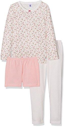 Petit Bateau Mädchen Zweiteiliger Schlafanzug Pyjama Haut+2BAS 26516, Mehrfarbig (Lait/Multico 70), 104 (Herstellergröße: 4ans/104cm) (2 Teiliger Mädchen Schlafanzug Kurzer)